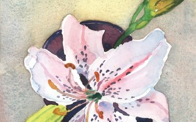 Hemerocallis in a Cup – watercolor floral painting