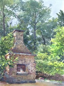 Historic Hearth- Hanson House - en plein air watercolor landscape painting by Frank Costantino