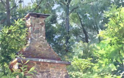 Historic Hearth- Hanson House – en plein air watercolor landscape painting
