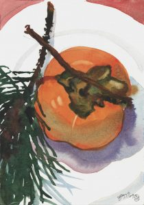 Holiday's Persimmon & Pine - watercolor still life painting by Frank Costantino