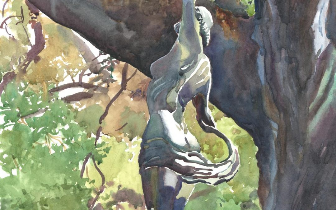 Hommage de Printemps a Diana - watercolor painting of sculpture by Frank Costantino