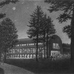 Seiji Ozawa Concert Shed, Tanglewood, MA - black and white pencil architectural illustration rendering by Frank Costatino