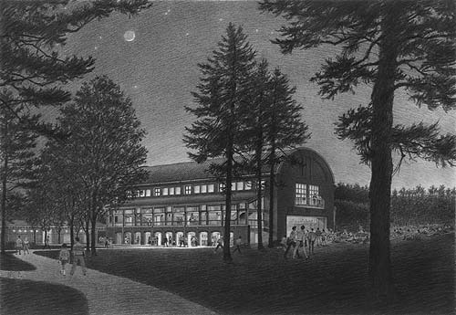 Seiji Ozawa Concert Shed, Tanglewood, MA – black and white architectural illustration rendering