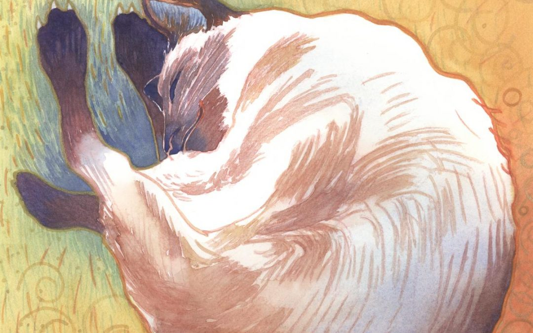 If a Cat Dreamt – watercolor painting of a cat
