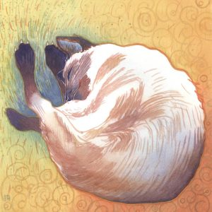 If a Cat Dreamt - watercolor painting of a cat by Frank Costantino