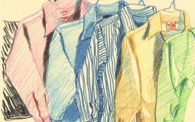 Ironing at Home I -oil pastel still life drawing