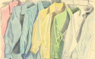 Ironing at Home II -oil pastel still life drawing
