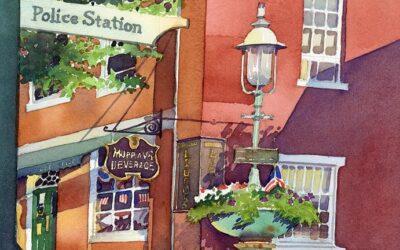Island Icon – en plein air watercolor landscape building painting