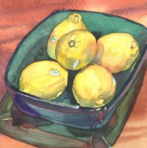 Jade Lemon Bowl - watercolor still life painting by Frank Costantino