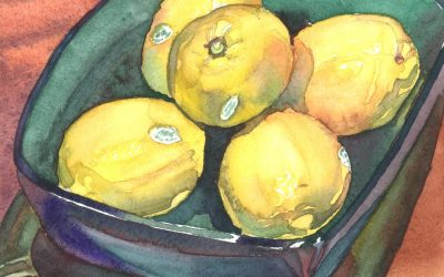 Jade Lemon Bowl – watercolor still life painting