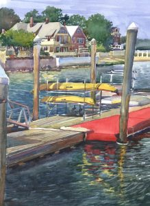 Kayaks Off the Carpet - en plein air watercolor seascape painting with boats by Frank Costantino