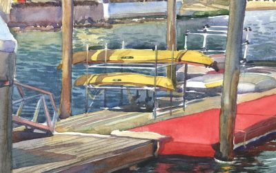 Kayaks Off the Carpet – en plein air watercolor seascape painting with boats