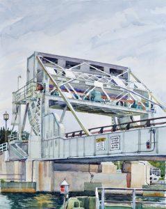 Knapp Narrows Transit - en plein air watercolor landscape painting of bridge by Frank Costantino