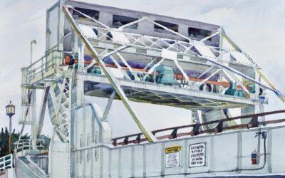 Knapp Narrows Transit – en plein air watercolor landscape painting of bridge