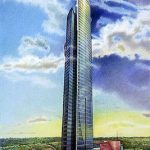 Liberty-Tower-Proposal-Jakarta-Indonesia - colored pencil architectural illustration rendering by Frank Costantino