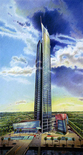 Liberty Tower Proposal, Jakarta, Indonesia – colored pencil architectural illustration rendering