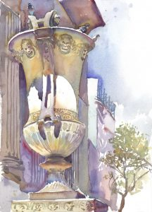 Library's Urn - en plein air watercolor painting of sculpture by Frank Costantino
