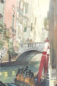 Light, Love, Allure of Venice - watercolor landscape painting of venice italy by Frank Costantino