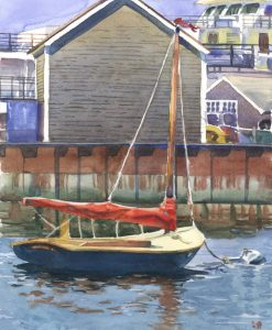 Little Harbor Skiff - watercolor painitng of boat on nantucket by Frank Costantino