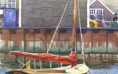 Little Harbor Skiff – watercolor maritime painting of boat