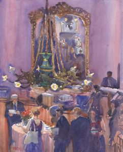 Lively Holliday Reception - watercolor painting commission for wedding by Frank Costantino