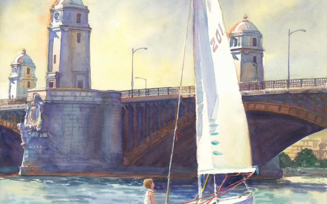 Longfellow's Sentinels, Boston MA – en plein air watercolor landscape painting of bridge architecture