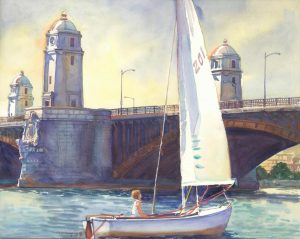 Longfellow's Sentinels, Boston MA - en plein air watercolor landscape painting of bridge architecture by Frank Costantino
