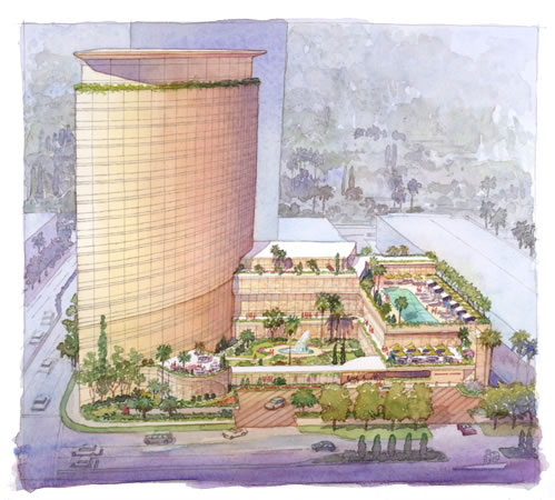 Mandarin Hotel, CA – watercolor architectural illustration rendering