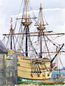 Mayflower Berthed - en plein air watercolor seascape painting of ship by FrankCostantino