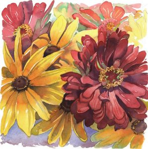 Meditation on Magenta- Zinnia & Sunflower - watercolor floral painting by Frank Costantino