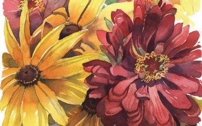 Meditation on Magenta- Zinnia & Sunflower – watercolor floral painting