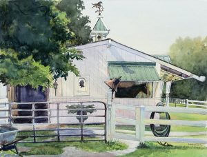 Miss Ruth's Stable - en plein air watercolor landscape painting by Frank Costantino
