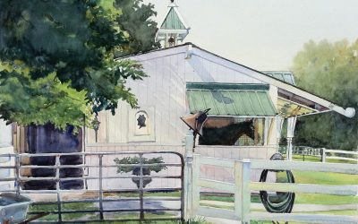 Miss Ruth's Stable – en plein air watercolor landscape painting