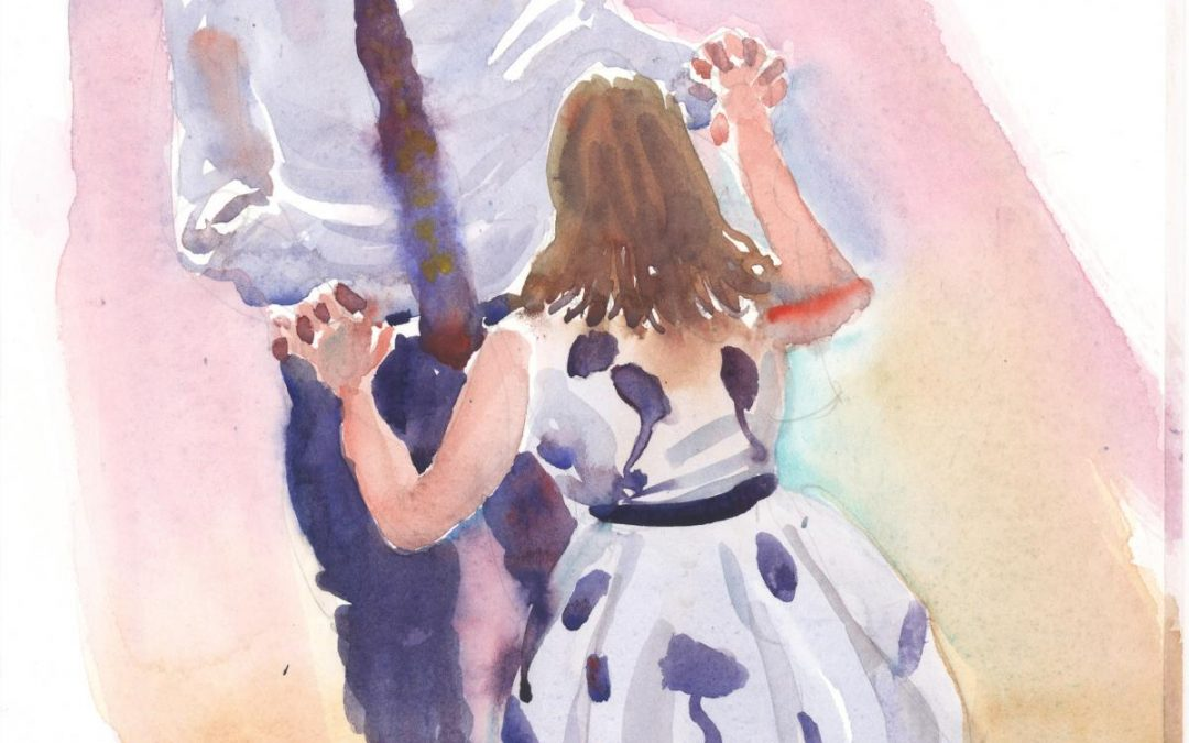 Mum & Son Holliday – watercolor painting commission of figures dancing