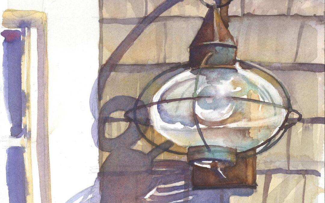 Nantucket Lantern - en plein air watercolor painting by Frank Costantino