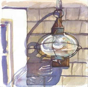 Nantucket Lantern - en plein air watercolor painting by Frank Costantino