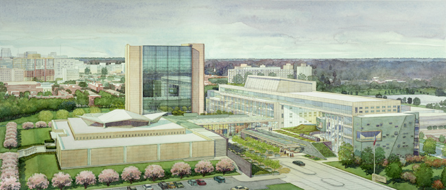 National Medical Library, Bethesda, MD – watercolor architectural illustration rendering