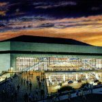 New Orleans Arena - watercolor architectural illustration rendering by Frank Costantino