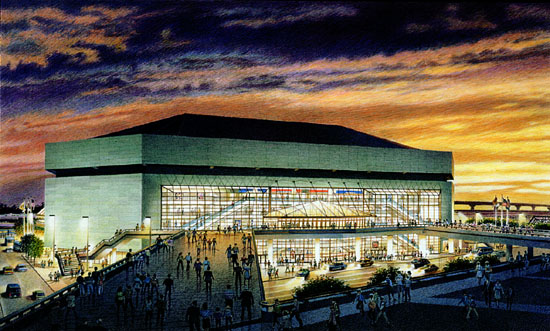 New Orleans Arena – colored pencil architectural illustration rendering
