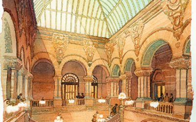 New York State Capitol Restoration, Albany, NY – watercolor architectural illustration rendering