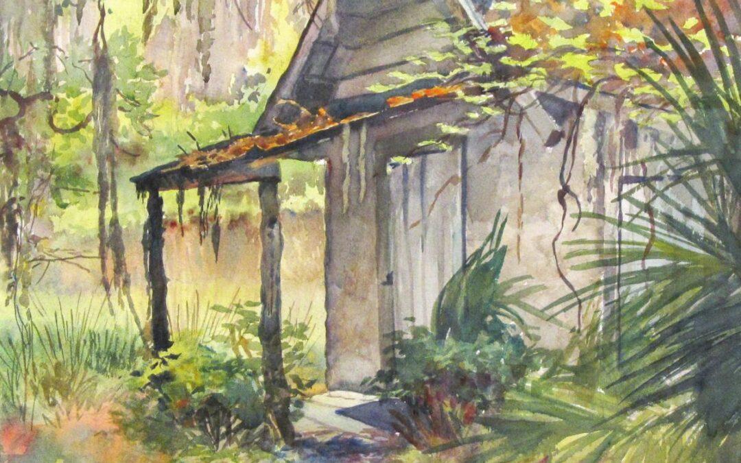 Fishin' No Mo – en plein air watercolor architectural landscape painting