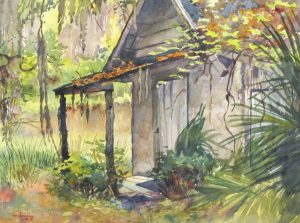 Fishin' No Mo - en plein air watercolor architectural landscape painting by Frank Costantino
