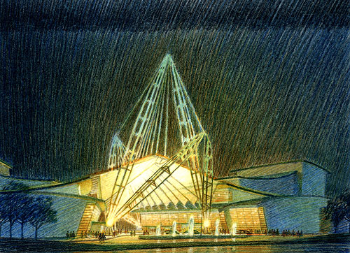 North Carolina Performing Arts Institute, Research Triangle - colored pencil architectural illustration rendering by Frank Costantino
