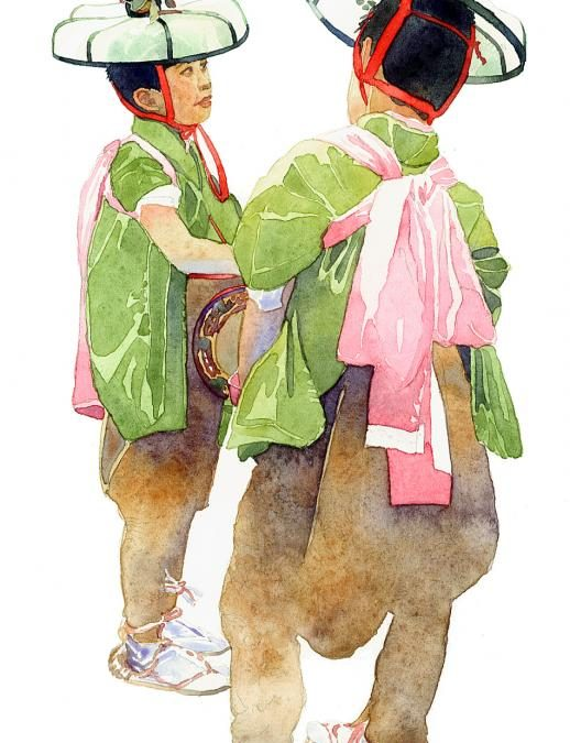 O-Bon Duo - watercolor figure painting by Frank Costantino