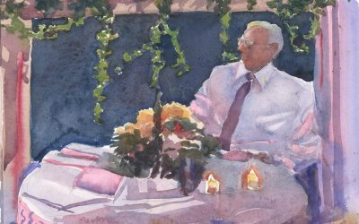 Observant Wedding Relation – watercolor interior painting with figure
