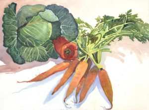 Orange, Red & Green Garden Bounty - watercolor still life painting by Frank Costantino
