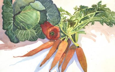 Orange, Red & Green Garden Bounty – watercolor still life painting