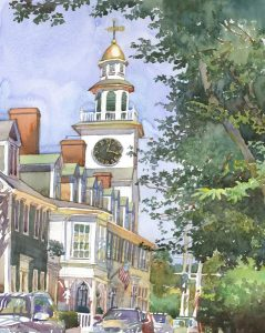 Orange Street Church - en plein air watercolor landscape building painting by Frank Costantino