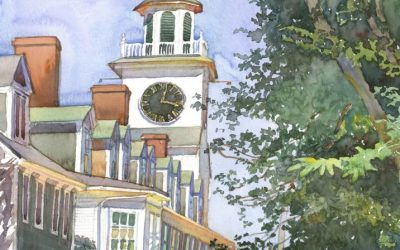 Orange Street Church – en plein air watercolor landscape building painting