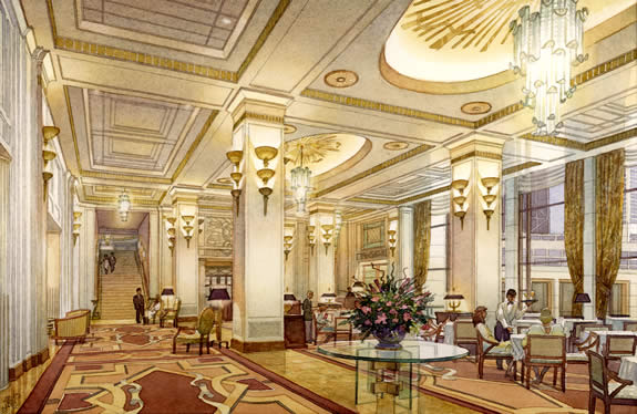 Peninsula Hotel Lobby, Chicago - watercolor architectural illustration rendering by Frank Costantino